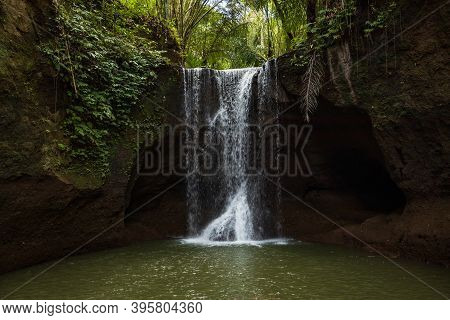 Beautiful Waterfall In Rainforest. Tropical Landscape. Slow Shutter Speed, Motion Photography. Natur