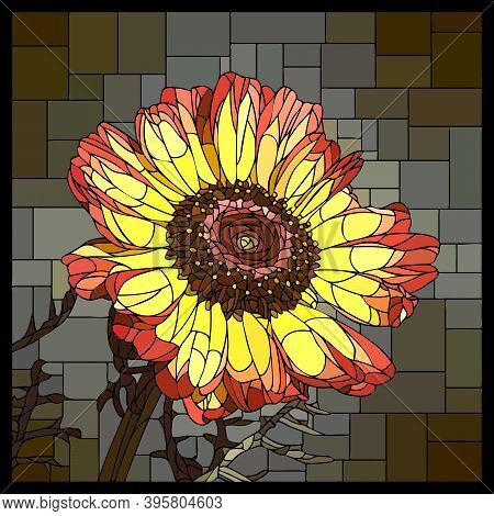 Vector Square Mosaic With Blooming Yellow Tricolor Chrysanthemum In Stained Glass Window.