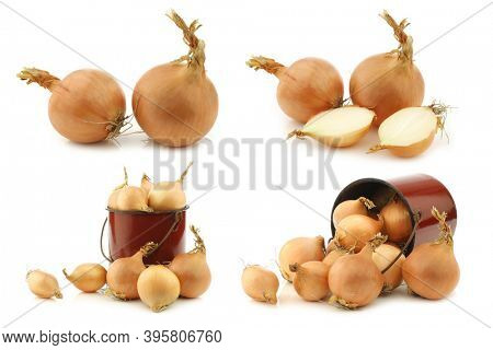 Fresh shallots and some  in a brown enamel cooking pot on a white background