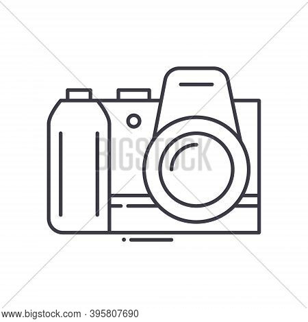 Digital Slr Camera Icon, Linear Isolated Illustration, Thin Line Vector, Web Design Sign, Outline Co