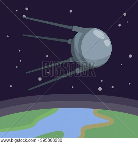 Satellite In Space Orbiting The Earth. Soviet Sputnik Fly Around Planet. First Flight Into Space. Mo
