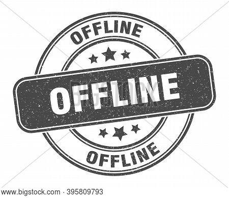 Offline Stamp. Offline Label. Round Grunge Sign