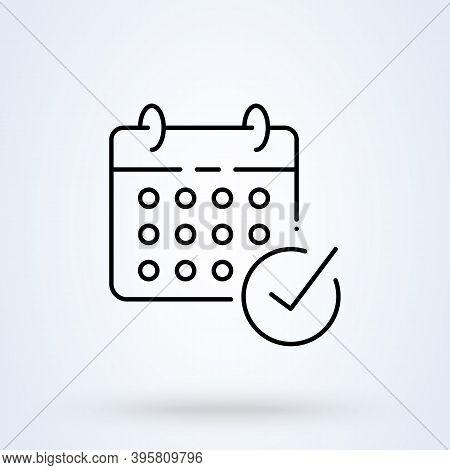 Calendar Check Mark Sign Line Icon Or Logo. Date Check Concept. Check Mark Or Tick Vector Linear Ill