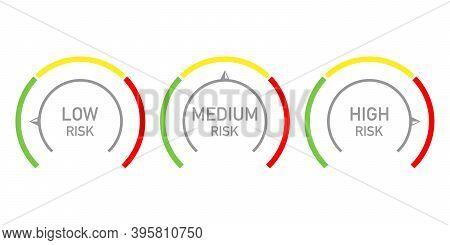 Risk Management Measure Meter Icon Set. Three Risk Indicators Signs. Vector Illustration.