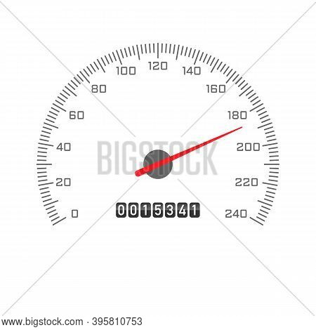 Car Odometer Speedometer Icon Isolated On White Background. Automobile Gauge Tachometer Speed Panel.