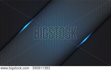 Abstract Blue Hexagon Mesh Pattern Light Slash On Grey On Grey Design Modern Futuristic Technology B