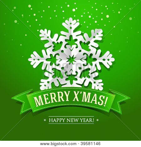 Christmas card with paper snowflake and inscription on a green ribbon. Vector illustration.