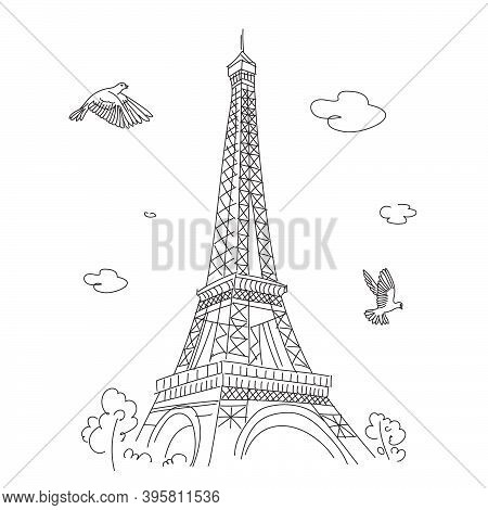 Eiffel Tower In Paris. Linear Drawing. Vector Line Illustration