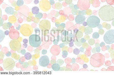 Seamless Polka Wallpaper. Retro Birthday Confetti. Pastel Invitation Design. Watercolor Party Textur