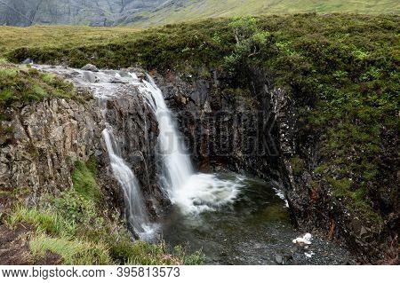 Fairy Pools Waterfall In Glen Brittle, Isle Of Skye, Scotland, Uk With Long Exposure