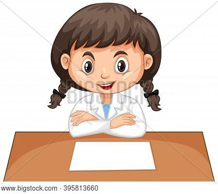 Girl In Lab Gown Sitting On White Background