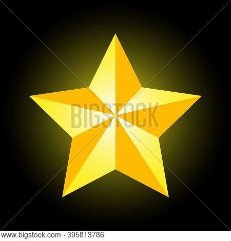 Gold Superstar On A Black Backlit Background. Superstar Of Success. Career Growth. Ladder Of Success