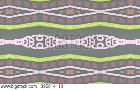 Colorful Tribal Background. Gray Navajo Ethnic Wallpaper. Drawn By Pen Native Motif. Geometric Tradi