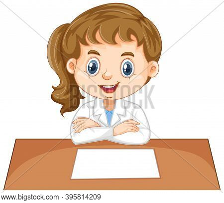 Girl In Science Gown On White Background