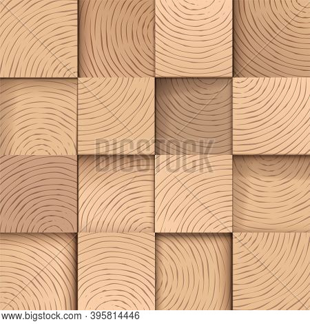 Square Wooden Tiles, Seamless Vector Pattern. Wood Texture Realistic Background, For Carpentry, Or W