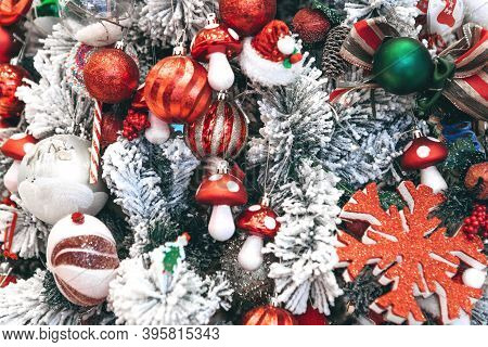 Decorated Festive Christmas Or New Year Tree Background.