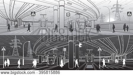 City Scene. Automobile Bridge, Overpass. Tram Rides. People Walk At Street. Night City On Background