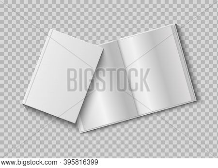 Two Realistic Books With Blank Hard Cover. 3d Mock Up Open And Closed Diary On Transparent Backgroun