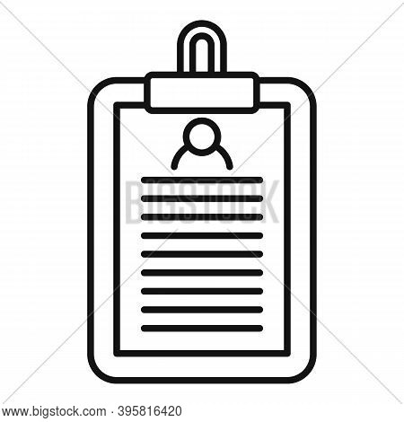 Headhunter Clipboard Icon. Outline Headhunter Clipboard Vector Icon For Web Design Isolated On White