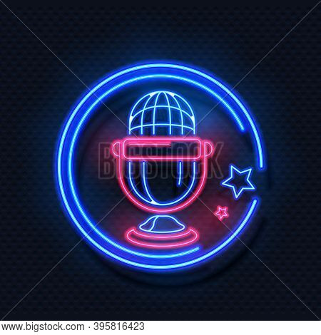 Neon Microphone. Realistic Light Round Frame And Voice Recorder Symbol With Stars. Radio Or Audio St