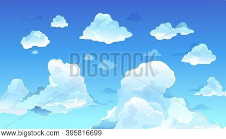 Cartoon Blue Sky. Realistic Summer Clouds, Clean Nature Landscape. Daytime Cloudy Heaven. Weather Fo