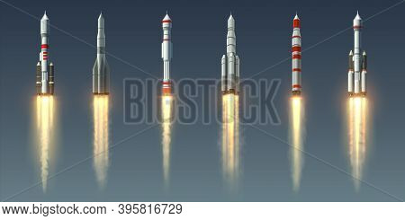 Rocket Launch. Realistic Spaceship With Takeoff Smoke Track And Fire Burst. Spacecraft With Steam Je