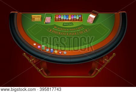 Game Table For Playing Blackjack. View From Above. Isolated. Vector Illustration