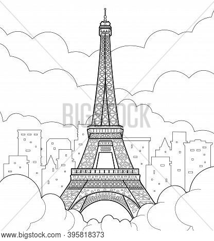 Eiffel Tower In Paris. Linear Hand Drawing. Vector Line Illustration