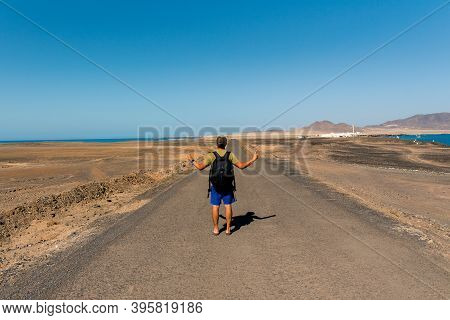 Punta Jandia, Fuerteventura, Spain : 2020 October 8 : Woman In Jandia Lighthouse In The South Of Fue