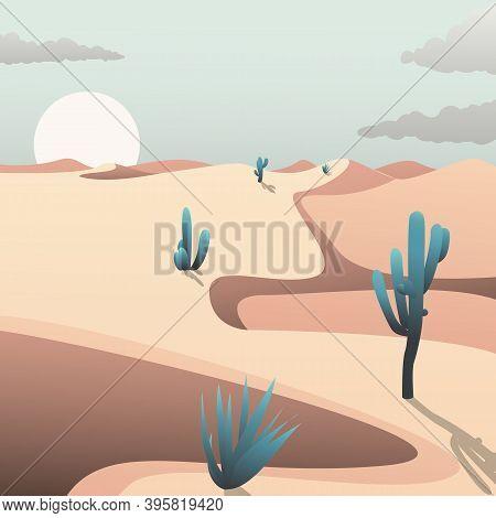 Cactus In The Desert Landscape In Trendy Gradient Art Style. Desert Sunset Vector Illustration