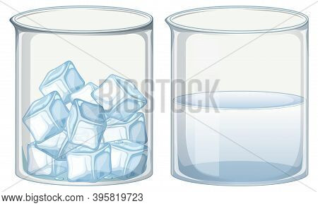Two Glass Beakers Filled With Ice And Water