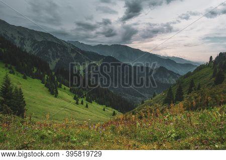 Mountain Evening Landscape In Butakovskoe Gorge Almaty, Kazakhstan, Zailiysky Alatau Range, Forest P