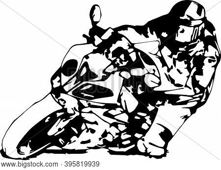 Man Riding Motorcycle In Asphalt Road. Motorcyclist At Black And White Sport Motorcycle. Vector.