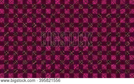 Pink Burgundy Magenta Checkered Background With Blur, Gradient And Texture Grunge. Classic Checkered