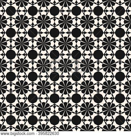Vector Ornamental Geometric Seamless Pattern. Elegant Black And White Geometrical Texture. Simple Mo