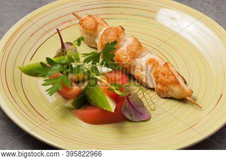 Chicken Skewer With Vegetables On A Wooden Skewer