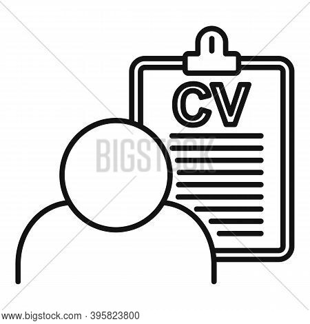 Recruiter Cv Board Icon. Outline Recruiter Cv Board Vector Icon For Web Design Isolated On White Bac