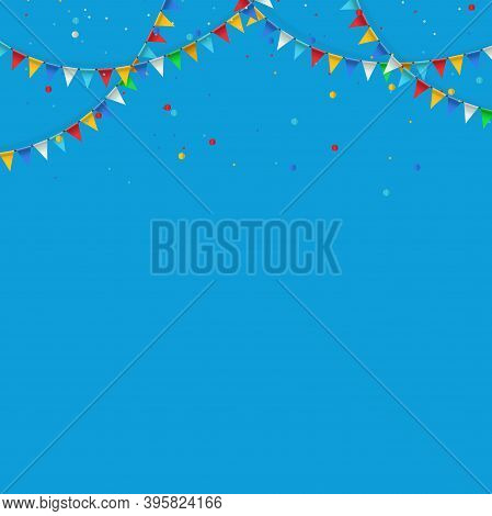 Festive Garland And Oatmeal Of Colorful Flags On Background. Garland Of Triangular Flags For Birthda