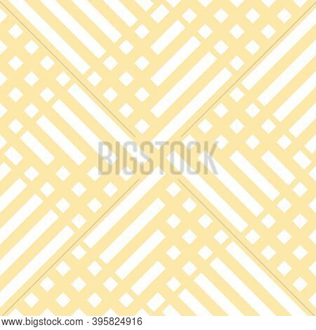 Abstract Vector Geometric Seamless Pattern With Squares, Lines, Grid, Net. Abstract Yellow Geometric