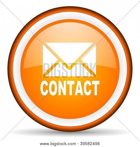 contact orange glossy circle icon on white background