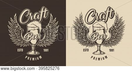 Brewing Vintage Print With Inscriptions Glass Full Of Fresh Foamy Beer And Barley Ears In Shapes Of