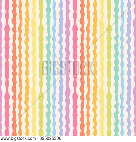 Abstract Seamless Pattern With Rainbow Wavy Lines, Stripes, Organic Shapes. Stylish Vector Texture W