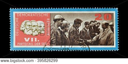 Germany - Circa 1967: Cancelled Postage Stamp Printed By East Germany, Dedicated To 7th Congress Of