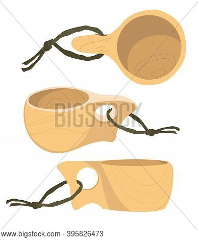 Kuksa. Wooden Handmade Mug In Brutal Style Traditional In Finland And Bushcraft Community