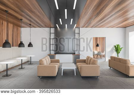 Wooden Grey Hall, Waiting Room And Reception Desk. Open Space Reception With Sofas And White Tables