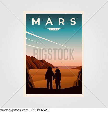 Mars Fantastic Poster Background Illustration, Astronaut Couples Space Vintage Poster Illustration D