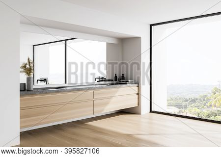 Corner Of Modern Bathroom With White Walls, Wooden Floor And Double Sink With Big Mirror. 3d Renderi