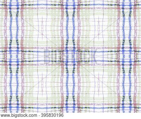White And Blue Tartan Prints. Seamless Buffalo Cloth. Irish Picnic Texture. Hipster Woven Border. Tr
