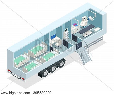 Isometric Hospital In The Car. Mobile Hospital With Medical Beds, Laboratory And Operating Room.