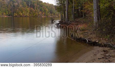 Shoreline At Falls Lake In North Carolina At The Beginning Of Autumn